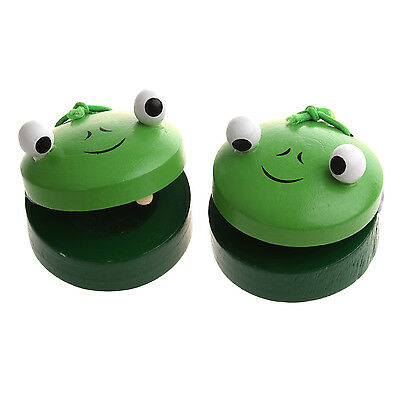 Sunny 1 Pair Round Wooden Frog Castanet Baby Musical Instrument Toy - Green