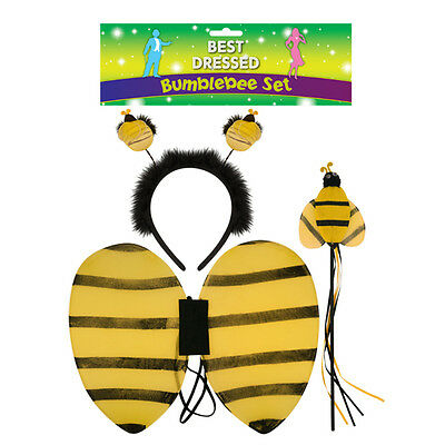 Children's 3 Piece Bumblebee Set With Wings, Headband And Wand