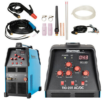 Sherman TIG 201 AC/DC 200Amp Welder Aluminium Inverter MMA for Garages Workshops