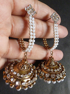 Vintage Gold Plated Pearl Half Ring Jhumka Earrings Indian Wedding Ethnic Set