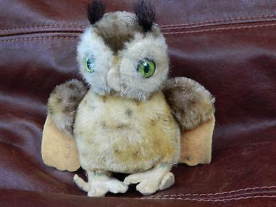 STEIFF VINTAGE 1954 FIRM BODY MINIATURE MOHAIR PLUSH WITTIE OWL WINGS OUT NO IDs