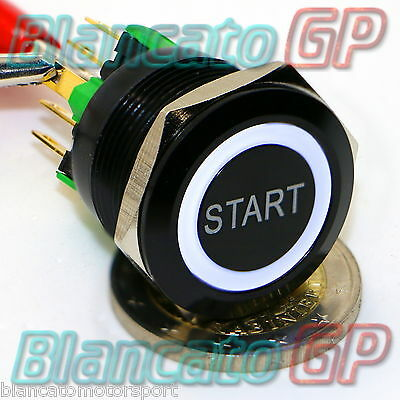 PULSANTE 22mm SPDT MONOSTABILE SIMBOLO START LED 12V BIANCO ILLUMINATO NERO auto