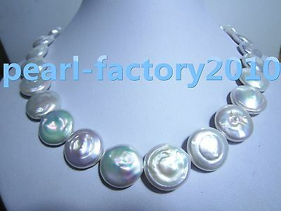 "baroque 18"" AAA 17 MM SOUTH SEA NATURAL White PEARL NECKLACE 14K GOLD  CLASP"