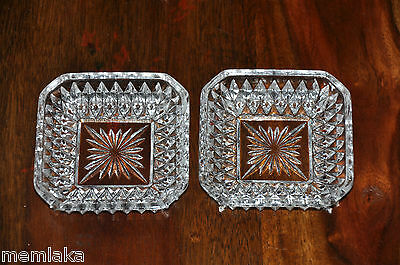 2 Antique / Vintage Clear Cut Crystal Glass Trays (0636)