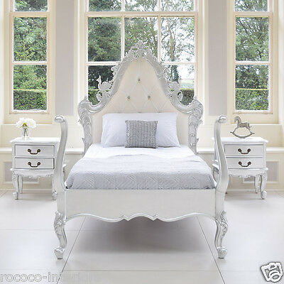 French Rococo Grandeur Pavone Italian Bed Single Silver Leaf