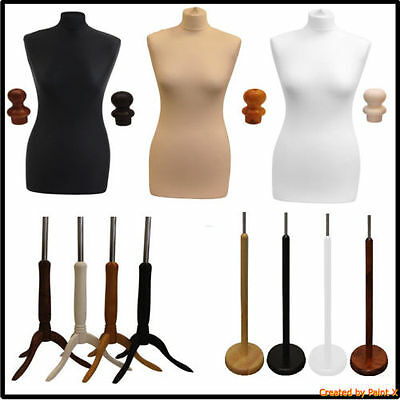 Female Tailor Dummy Various UK Sizes from 6-22 Mannequin Display Bust Wood Stand