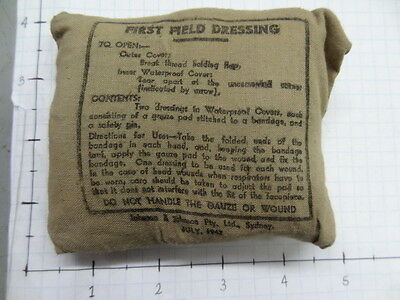 WW2 FIRST FIELD DRESSING - 1942 DATED - AUSTRALIAN MADE            #eq117
