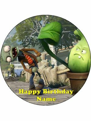 PLANTS vs ZOMBIES 19cm Edible Icing Image Birthday Party Cake Topper Decoration