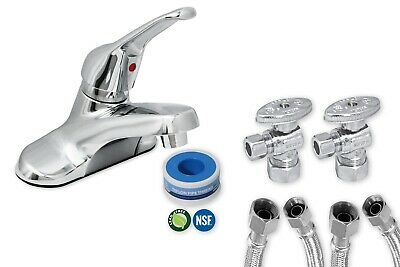 Complete Lead Free Washerless Lever Handle Bathroom Faucet Kit, Chrome