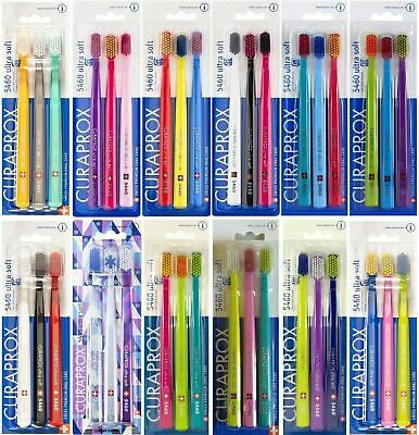 Pack of 3 TOOTHBRUSHES - CURAPROX 5460 ULTRA SOFT - 3 Pack - CHOOSE COLOURS :-)