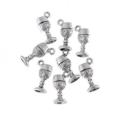 10pcs Drinking Cup Wine Goblet Beads Tibetan Silver Charms Pendant DIY Bracelet