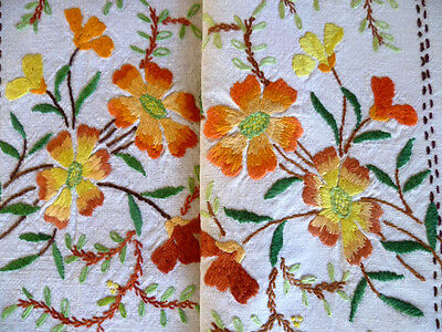 Vintage Heavily Hand Embroidered Linen Autumnal Blossoms Tablecloth