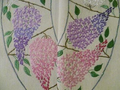 Lilacs Circle/Garland/Ring~ STUNNING Vintage Heavily Hand Embroidered Tablecloth