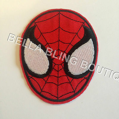 1 Embroidered Boys Spiderman Head Iron On Sew On Patch Clothes Craft