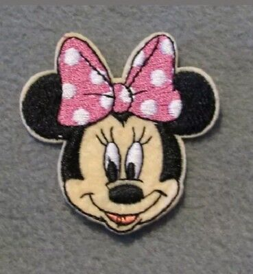 1 Embroidered Pink Minnie Mouse Iron On Sew On Patch Clothes Craft