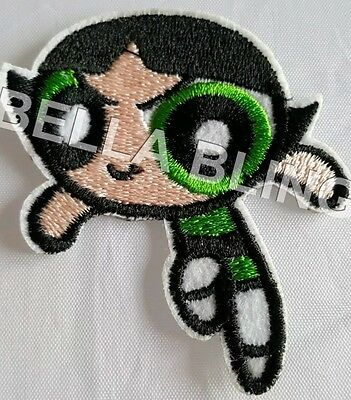 1 Embroidered Power Puff Girls Buttercup Iron On Sew On Patch Clothes Craft