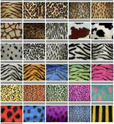 Animal Print Fake Faux Fur Fabric MANY Designs PER METRE samples available