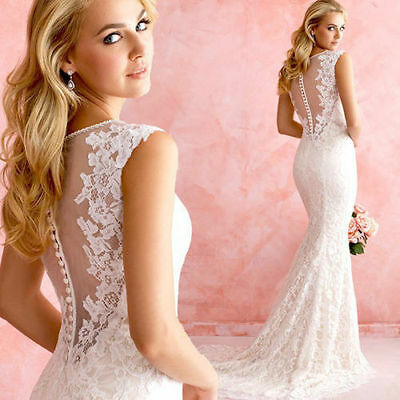 New Mermaid White/Ivory lace Bridal Gown Wedding Dress Custom Size 6 8 10 12 16
