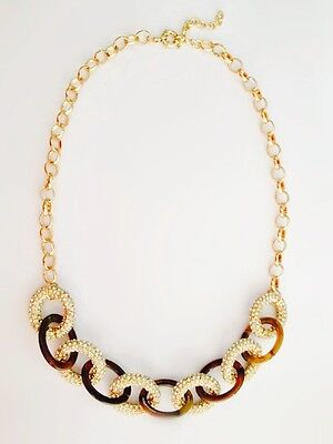 NWOT Chunky Faux Tortoise Shell Gold Pave Crystal Chain Link Bib Necklace Collar
