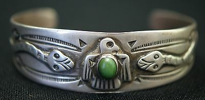 Vintage c1930 Fred Harvey Indian Silver Bracelet Snakes Eagle W/ Turquoise Stone