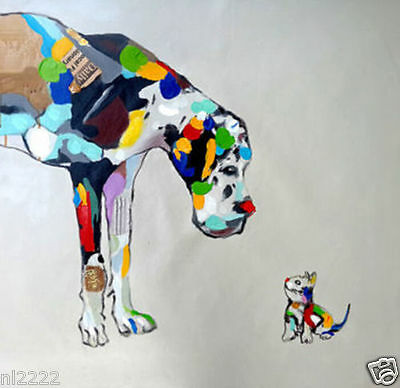 YAKAI Modern Abstract art Animal dog Oil Painting Hand Painted No frame 20x20in