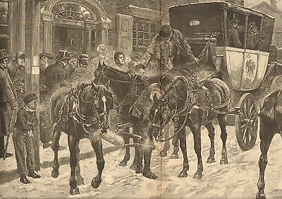 US Mail History, Stage Coach, Old Boston Post Road, Vintage 1886 Antique Print