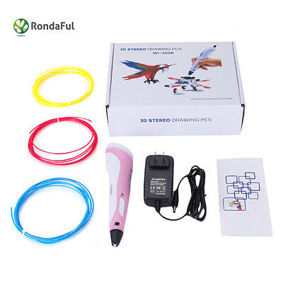 DIY 3D Printing Pen Stereoscopic Drawing Art Crafts+Free ABS Filaments+Charger