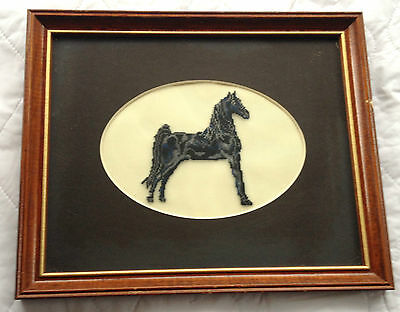 Black/Grey Horse Petit Point with matting and Frame (676)