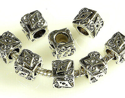 Antique Silver~Cube~Tibetan Style~European Charm Beads~8 Mm ~ Hole~5 Mm