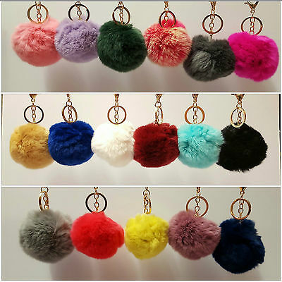 Pom Pom Ball Accessory Real Rabbit Fur Bag Charm Keyring Keychain *UK SELLER*