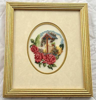 Roses/ Wishing Well/ Flowers Petit Point with matting and Frame (686)