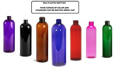 Plastic 16Oz Colored Bottles. Optional Caps. Usa Seller. Qty Discounts.