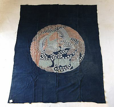 "Japanese Antiques- Indigo ""Tsutsugaki"" Cloth from 19th century- phoenix"