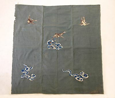 "Japanese Antiques- hand-drawn""Yuzen"" Cloth from 19th century - Sparrow"