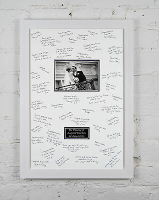 Personalized Wedding Signing Signature Frame Guest Sign Book + Gel Pens & Easel