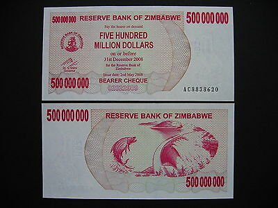 ZIMBABWE  500 Million Dollars 2.5.2008  (P60)  UNC