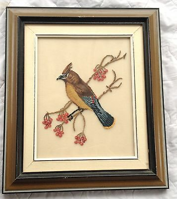 Cedar Waxwing Bird Petit Point Matted & Framed 704