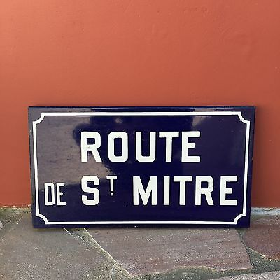 Old French Street Enameled Sign Plaque - vintage mitre