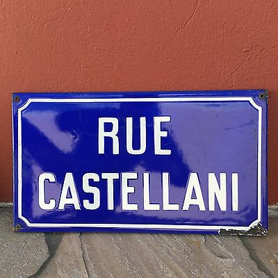 Old French Street Enameled Sign Plaque - vintage castellani