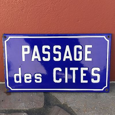 Old French Street Enameled Sign Plaque - vintage cite