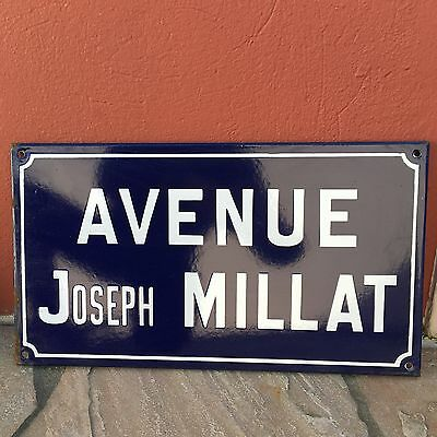 Old French Street Enameled Sign Plaque - vintage millat