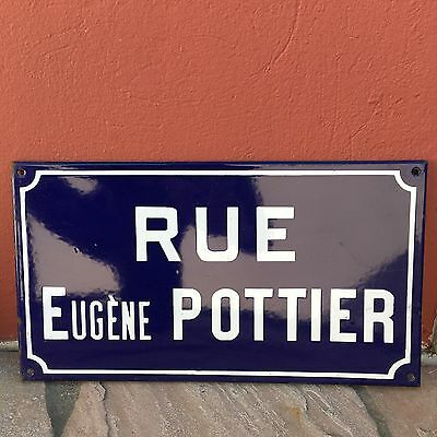 Old French Street Enameled Sign Plaque - vintage pottier 2