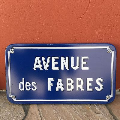 Old French Street Enameled Sign Plaque - vintage fabres