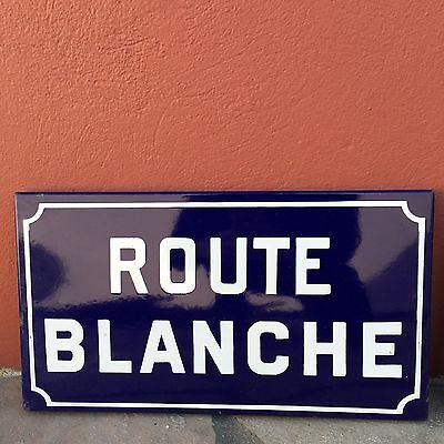Old French Street Enameled Sign Plaque - vintage blanche