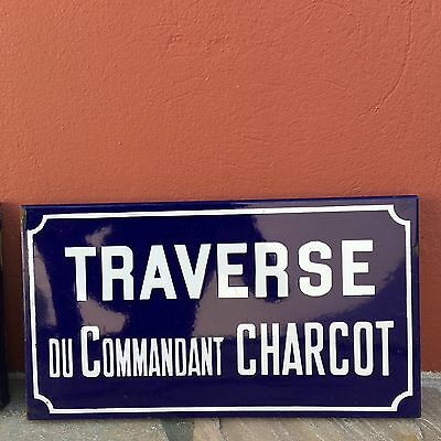 Old French Street Enameled Sign Plaque - vintage charcot