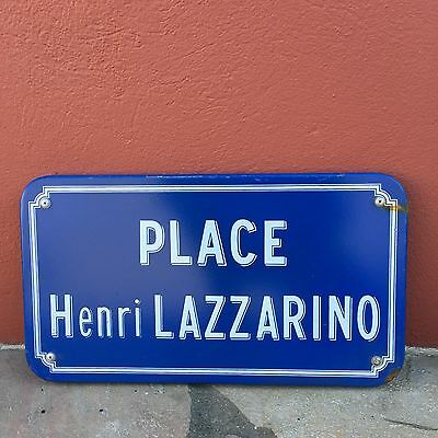 Old French Street Enameled Sign Plaque - vintage lazzarino
