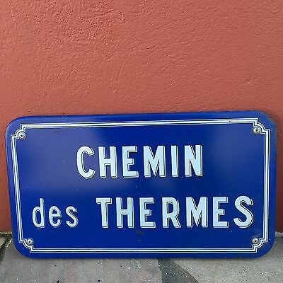 Old French Street Enameled Sign Plaque - vintage thermes