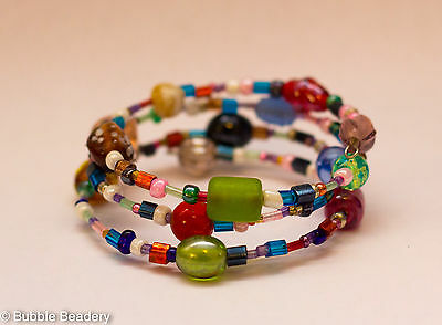 Bubble Beadery Memory Wire Bracelet Glass Colourful Rainbow Handmade Jewelry