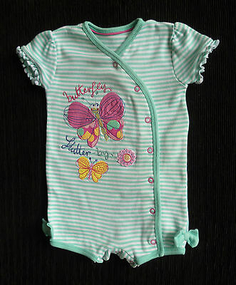 Baby clothes GIRL 6-9m M&S turquoise/pink/white soft cotton romper short sleeve
