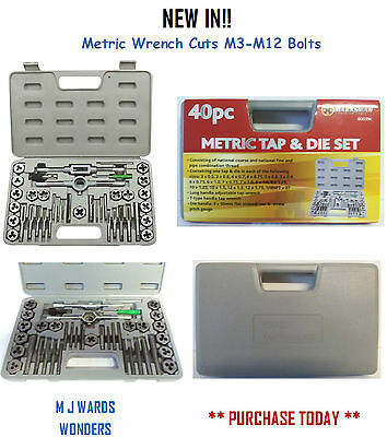 40PC Pro Tap And Die Set Metric Wrench Cuts M3-M12 Bolts Hard Case Engineers Kit